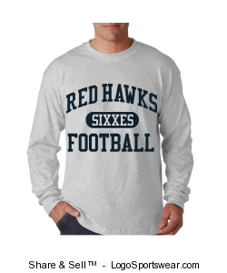 Red Hawks Long Tee Design Zoom